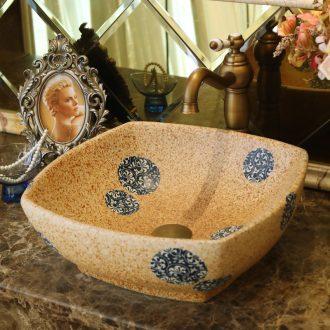 Jingdezhen ceramic stage basin lavatory basin, art basin sink basin sifang yellow blue round cakes