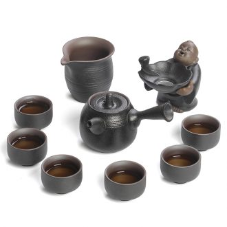 Japanese kung fu tea set of black suit household teapot tea cups) a complete set of ceramic tea set gift boxes
