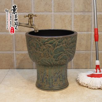 Jingdezhen ceramic mop pool under the antique bronze its lotus pool mop pool mop bucket of 36 cm