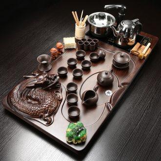 Gorgeous young kung fu tea set tea taking of a complete set of household ceramic tea set tea tray embossed dragon tea tea tray