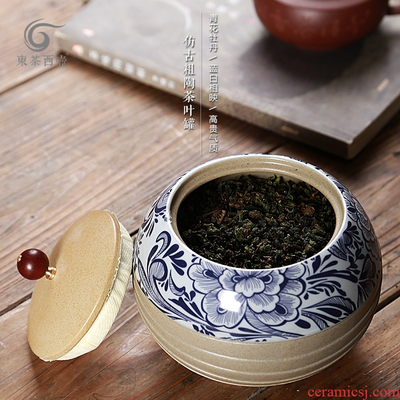 East west tea pot of ceramic seal pot of tea packaging gift box canned copy Chinese lacquer coarse pottery tea pot