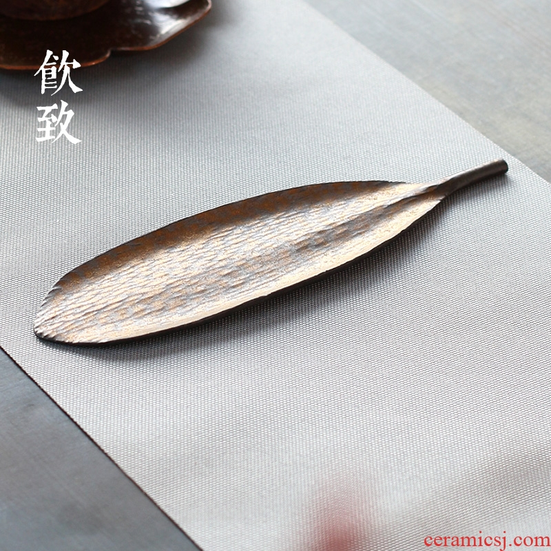 Ultimately responds to coarse after the tea were ceramic tea shovel gold tea spoon bodhi leaf tea holder kung fu tea set spare parts