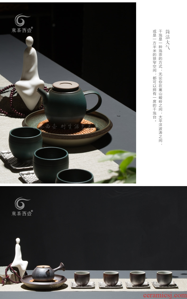 East west tea pot of Japanese dry terms plate antique household ceramic tea pot holder, pot pad, the cane top service up the manual pure ancient earthen POTS bearing