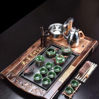 HaoFeng purple sand tea set household kung fu tea taking of a complete set of ceramic teapot teacup solid wood tea tray tea table