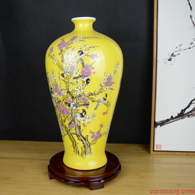 Jingdezhen ceramics powder enamel annunciation vase decoration of modern Chinese style living room home wine ark, adornment furnishing articles