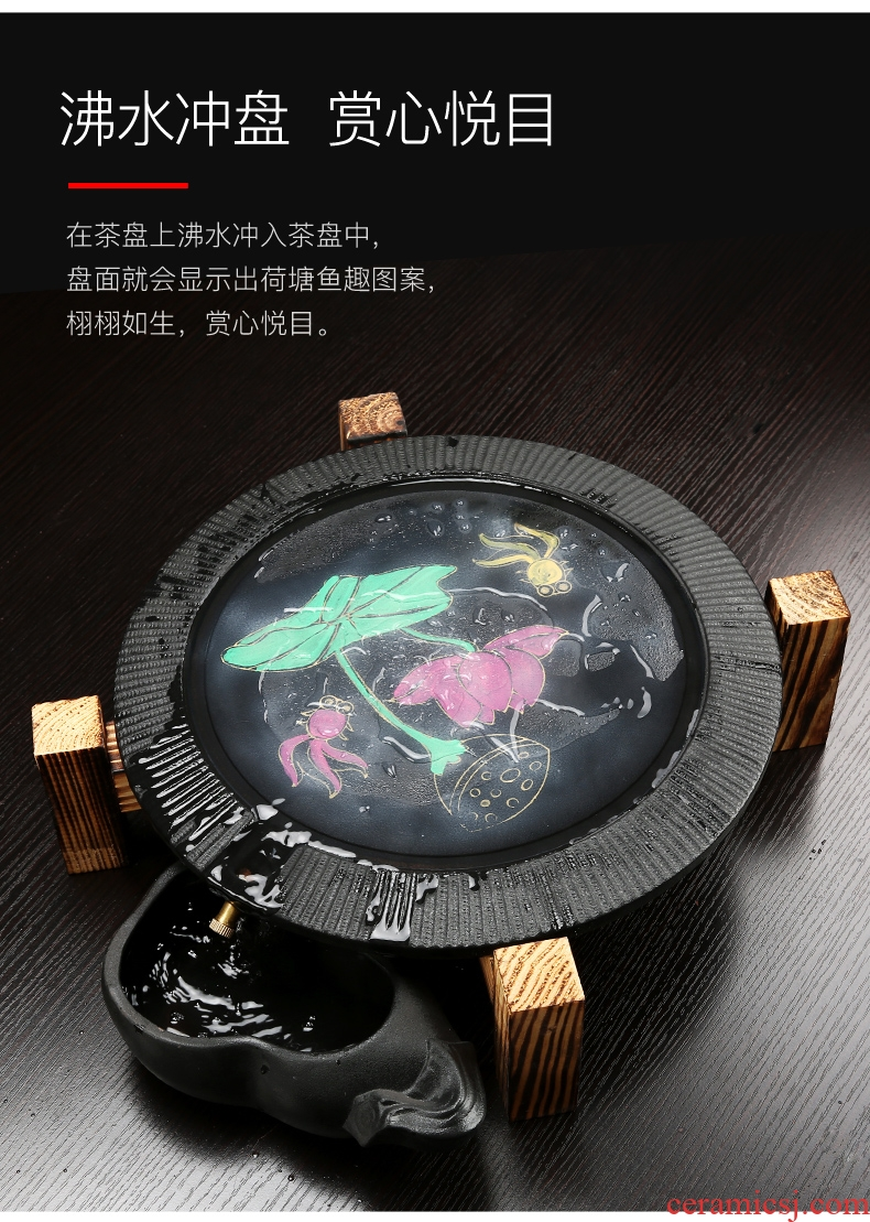 Bin DE stone mill automatic restoring ancient ways of a complete set of tea set, ceramic purple contracted household kung fu tea tea tray to change color