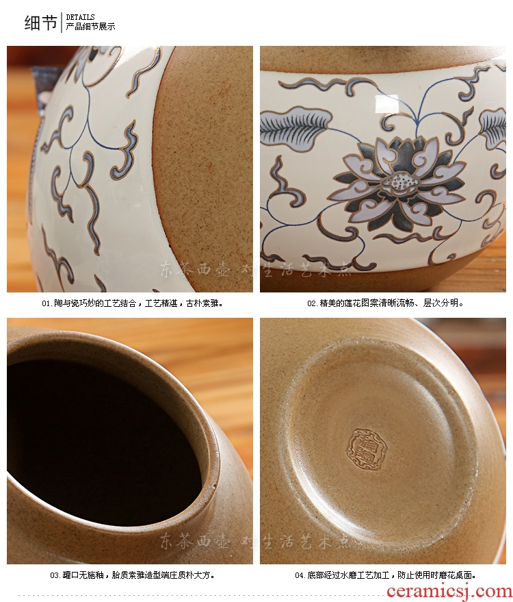 East west tea pot of ceramic tea pot seal pot flower POTS puer tea pot pottery and porcelain drum GA3303 2