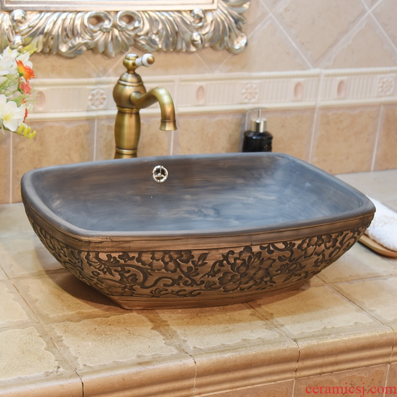 Jingdezhen ceramic lavatory basin stage basin art square archaize carve patterns or designs on woodwork double surplus water basin sink