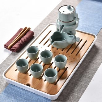 Gorgeous young of a complete set of automatic tea set ceramic household fortunes of a complete set of stone mill lazy people make tea hot prevention