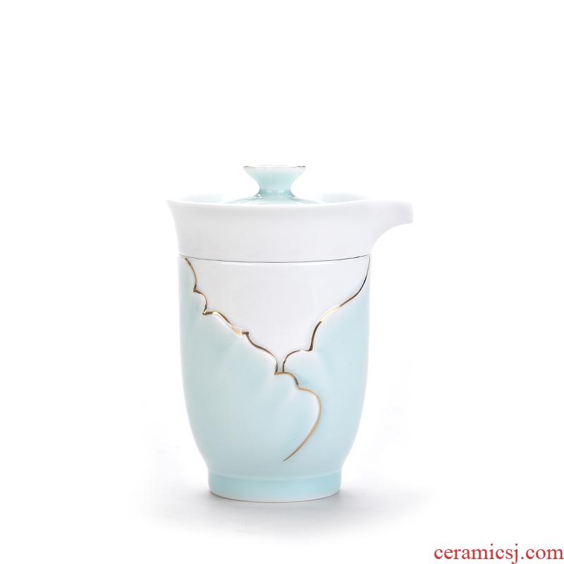 East west pot of creative a pot of tea cup travel 2 suit single portable tea if celadon ceramic crack cup