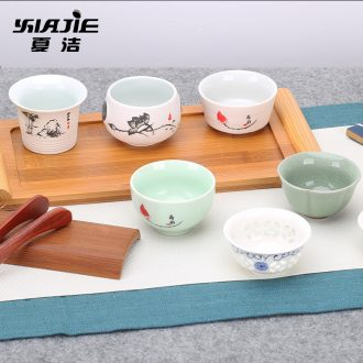 Four - walled yard kung fu ceramic cups suit small bowl tea tea cup purple sand cup master cup tea cups of tea