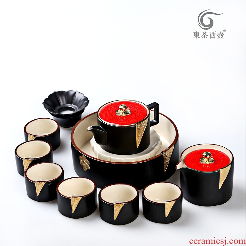 East west pot of kung fu tea set of a complete set of ceramic tea pot pot bearing boutique hand - made paint set of tea cups of zen