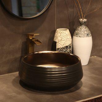 Ling yu, jingdezhen ceramic stage basin to the balcony the lavatory toilet lavabo, retro art waist drum blue and white