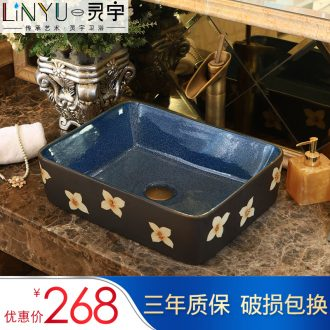 Ling yu stage basin ceramic square shape the lavatory toilet lavabo balcony art restores ancient ways of the basin that wash a face basin