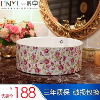 Ling yu of jingdezhen ceramic art stage basin retro sinks double spillway hole, romantic rose for wash to wash your hands
