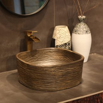 Ling yu on the Europe type restoring ancient ways the sink basin ceramic art basin move contracted sink basin of wood grain