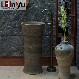 Ling yu basin lavatory sink art column 025 toilet basin ceramic one column column combination