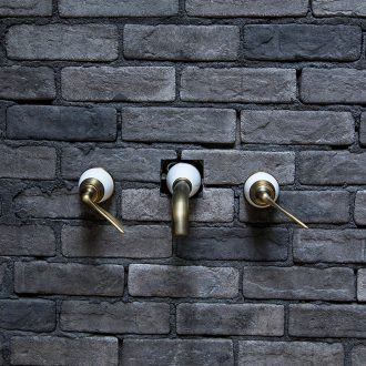 Enter wall type restoring ancient ways ling yu jingdezhen yellow bronze faucet hot and cold all copper leading European archaize of household tap