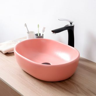 Pink washing plate single plate ceramic process stage basin sink small household size 35 cm Nordic breeze light much wind