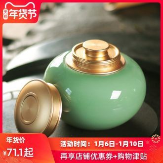 Longquan celadon checking ceramic metal large POTS tea caddy fixings household seal POTS pu seal pot