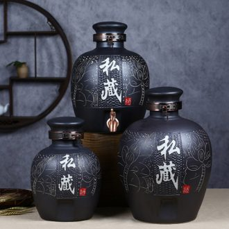 Jingdezhen ceramic jars carving it hip mercifully wine wine wine jar cylinder with leading 20 jins 50 pounds