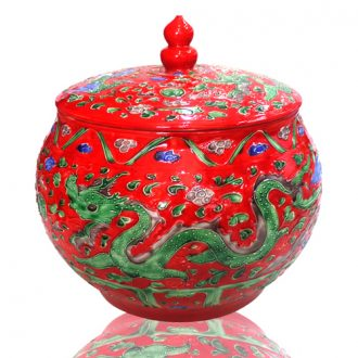 Canister of snacks of jingdezhen ceramic storage tank with a cover melon carved yuanyang longfeng altar altar water - analogy simulation wedding decoration