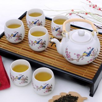 7 heads girder pot of tea set gift boxes of jingdezhen inferior smooth glaze household teapot pay-per-tweet figure