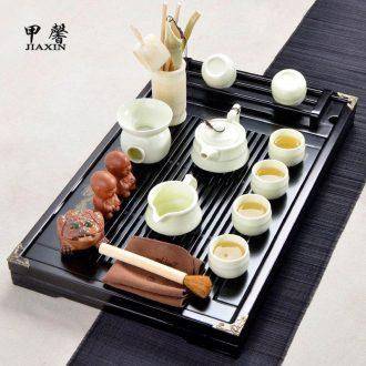 JiaXin tea tea set tea sea contracted household up ceramic tea Chinese kung fu of a complete set of solid wood tea tray