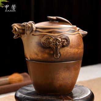 JiaXin crack cup portable office travel kung fu tea set ceramic set of three Yang kaitai a pot of three cups of crack