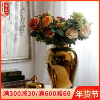 Opens to booking a general model of gold - plated jingdezhen ceramic pot flower porcelain bottles of adornment of Chinese style porch decorate furnishing articles