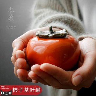 Serve tea persimmon tea as cans ceramic small household tea warehouse creative seal storage POTS furnishing articles manually mini POTS