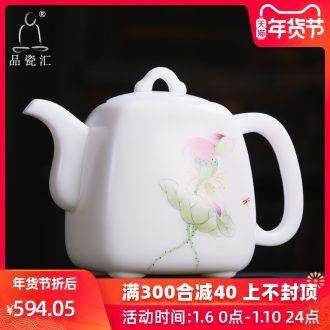 The Product dehua porcelain remit jade built four white porcelain teapot hand - made lotus penghu - glance home office ceramic teapot tea sets