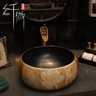 On the ceramic bowl round Chinese art basin sink basin bathroom sinks counters are contracted household