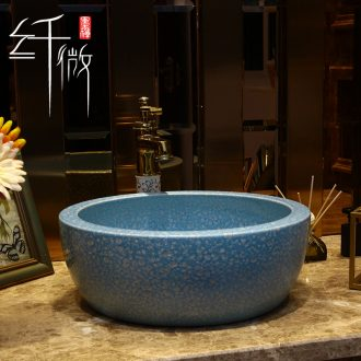 European ceramics on the basin washing a face China household washing basin balcony round art basin blue basin
