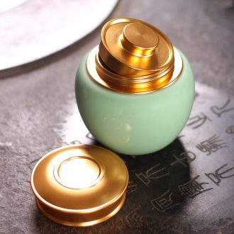 Caddy fixings longquan celadon portable small metal cover ceramic seal storage POTS household receives storage tanks