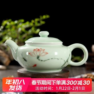 Household kunfu tea tea set longquan celadon ceramics hand - made little teapot tea tea porcelain single pot small tea
