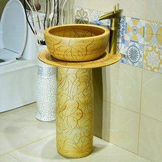 Sink basin floor pillar type lavatory pillar lavabo one - piece mini ceramic basin of the post