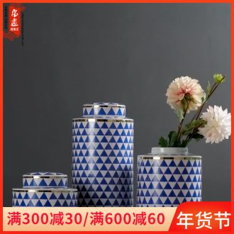 Jingdezhen porcelain pot vase sitting room between European example of new Chinese style household decorates porch creative drum furnishing articles