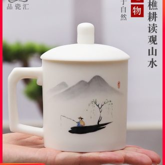 The Product porcelain sink dehua white porcelain cup with cover manual hand - made office personal keller high - capacity ceramic tea cups