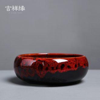 Auspicious edge up large tea to wash the ashtray container large ceramic tea accessories kung fu tea XiCha masterpieces sea