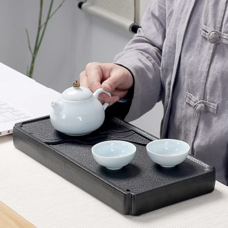 Quiet life rectangular black pottery tea tray ceramic Japanese tea table dry tea tray was contracted kung fu tea tray