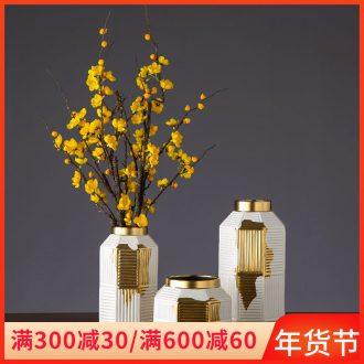 Nordic light wind electroplating gold ceramic creative living room key-2 luxury vase soft outfit decoration ark place flower arrangement table decoration