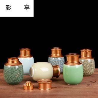 Shadow enjoy tea pot ceramic seal household size small storage tanks caddy fixings longquan celadon tea box gift box