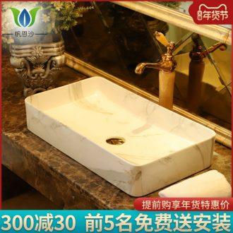 Ceramic art basin on its square Europe type lavatory toilet lavabo, marble platform basin oval