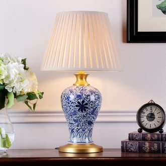 New Chinese style hand - made porcelain ceramic desk lamp sitting room villa decoration to the hotel club soft outfit collocation of bedroom the head of a bed