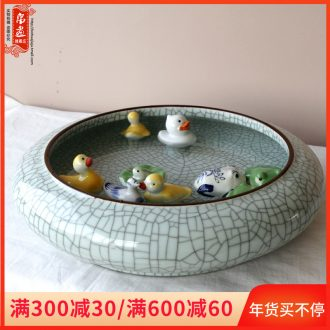 Jingdezhen ceramic porcelain, lovely mini duck chicago-brewed goose floating fish frog home sitting room aquarium decoration small place