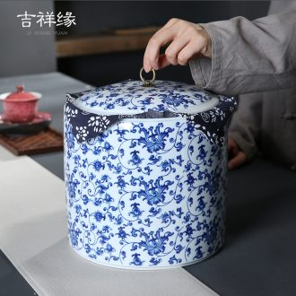 Auspicious margin of puer tea with big cake as cans ceramic seven yards caddy fixings, 357 grams of blue and white tea pu - erh tea, white tea cake box