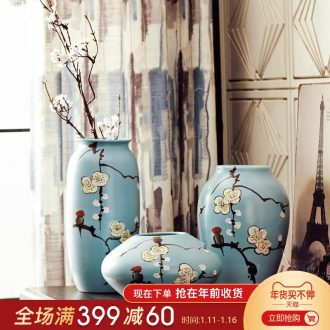 Mr Han mei new Chinese modern furnishing articles hand - made name plum flower arranging ceramics vase three - piece wine cabinet decoration decoration