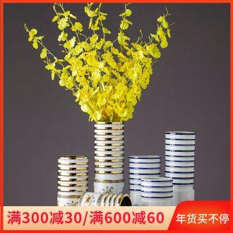 Jingdezhen ceramic flower ceramic light key-2 luxury living room table porcelain bottle furnishing articles home decoration ceramic cut flower