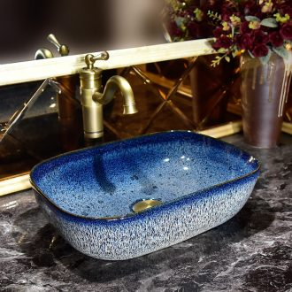 Square ceramic lavatory toilet stage basin household basin simple art basin continental on the sink